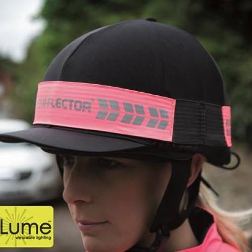 Shires Equi-Flector Flashing Hat Band With Silver Reflective Branding - Pink