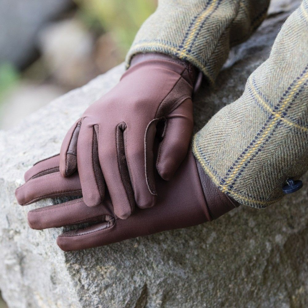 Equetech Junior Leather Show Gloves - Brown
