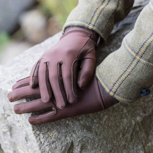 Equetech Leather Show Gloves - Junior - Brown
