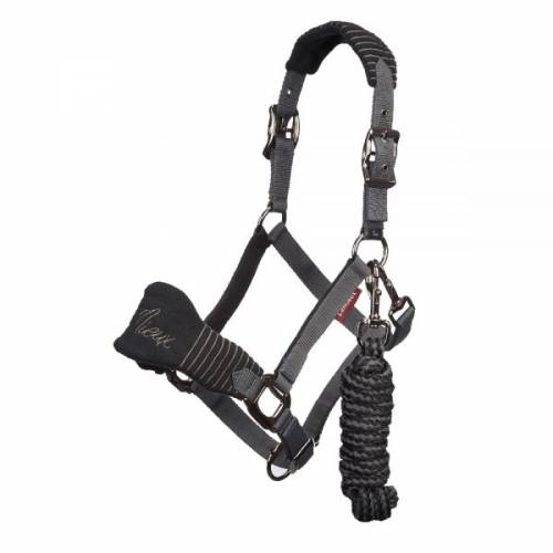 Lemieux Vogue Fleece Headcollar & Leadrope - Black/Grey