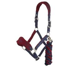 LeMieux Vogue Fleece Headcollar & Leadrope - Burgundy/Navy