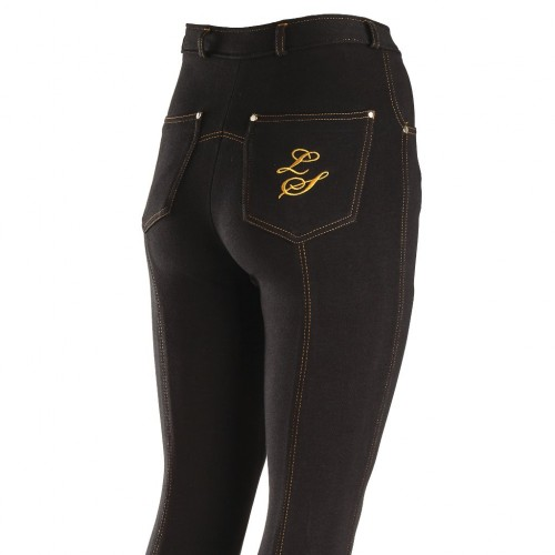 Contrast Junior Jodphurs - Black/Gold