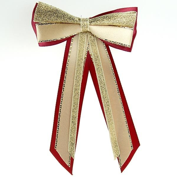 Showquest Satin HairBow & Tails - Burgundy/ Gold