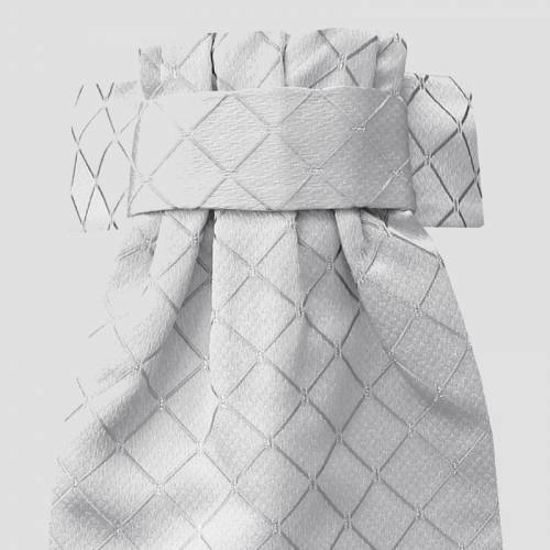 Equetech Diamond Jacquard Deluxe Ready Tied Stock- White Silver