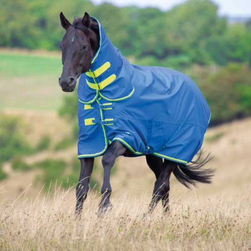 Shires Tempest 50g Combo Neck Turnout Rug- Blue/Lime