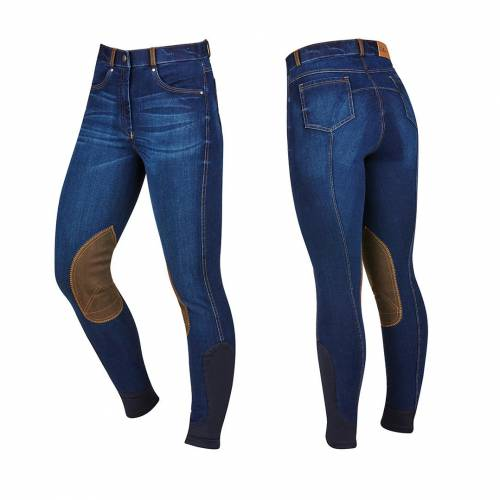 Dublin Shona Suede Knee Patch Denim Breeches - Blue