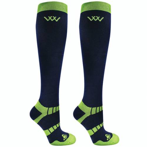 Woof Wear Winter Riding Socks - Navy/Lime