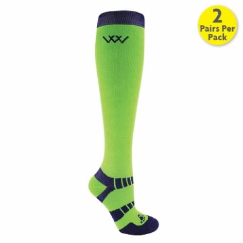 Woof Wear Bamboo Long Riding Socks - Navy/Lime