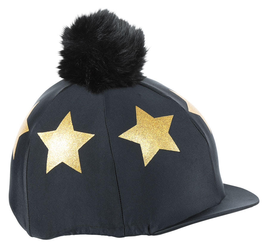 Shires Star Pom Pom Hat Silk - Black/Gold