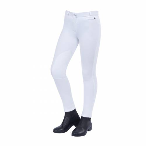 Dublin Supa Fit Momentum Knee Patch Zip Up Child Jodhpurs - White