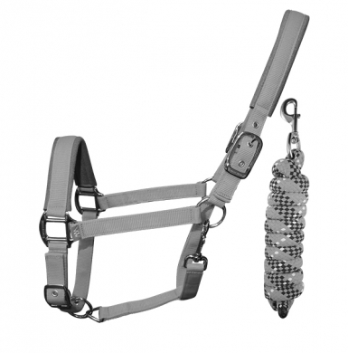 Woof Wear Contour Headcollar & Lead Rope Set - Brushed Steel