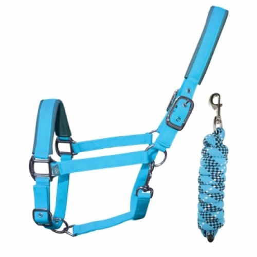 Woof Wear Contour Headcollar and Lead Rope Set - Turquoise
