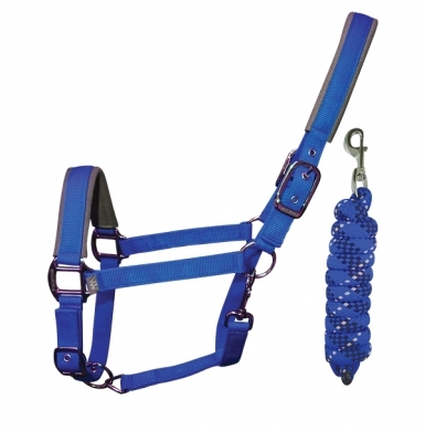 Woof Wear Contour Headcollar and Lead Rope Set - Electric Blue