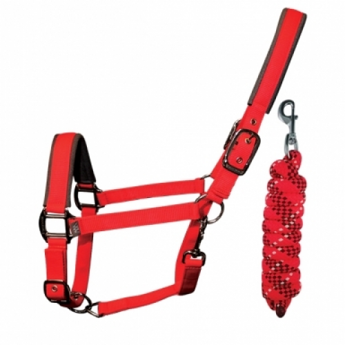 Woof Wear Contour Headcollar and Lead Rope Set - Royal Red