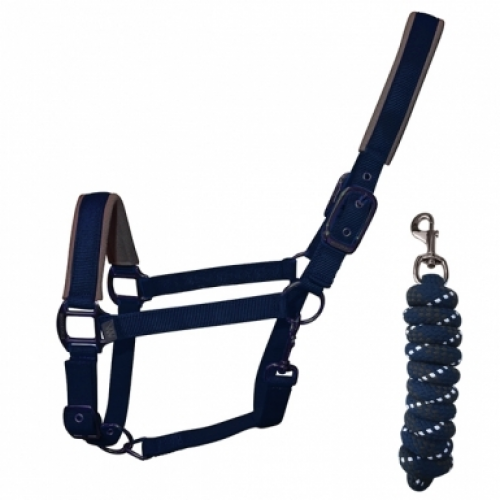 Woof Wear Contour Headcollar and Lead Rope Set - Navy