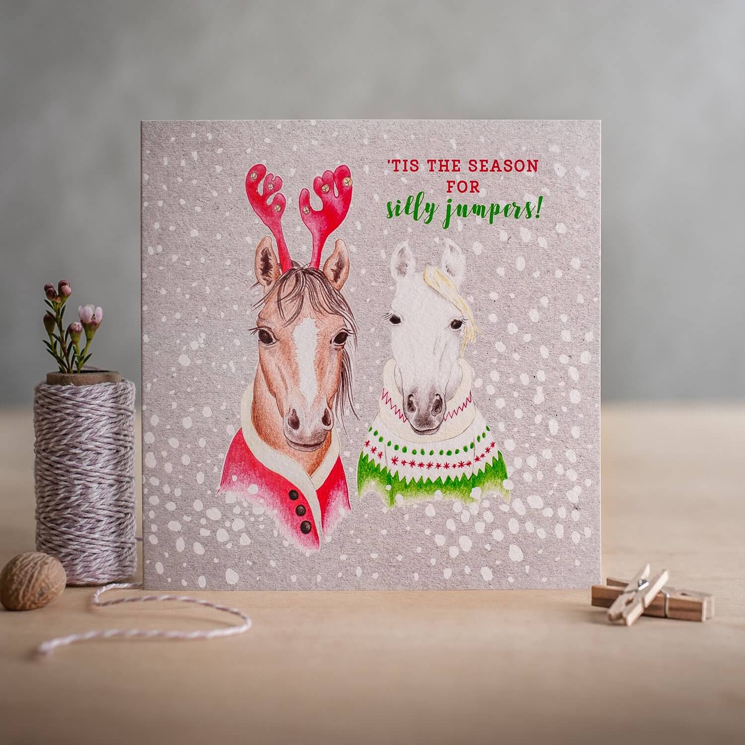 Deckled Edge Christmas Card - 'Tis The Season For Silly Jumpers'