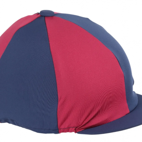 Shires Quartered Hat Cover - Navy/Raspberry