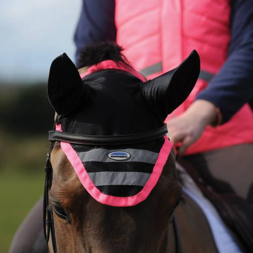 Weatherbeeta Reflective Ear Bonnet - Pink