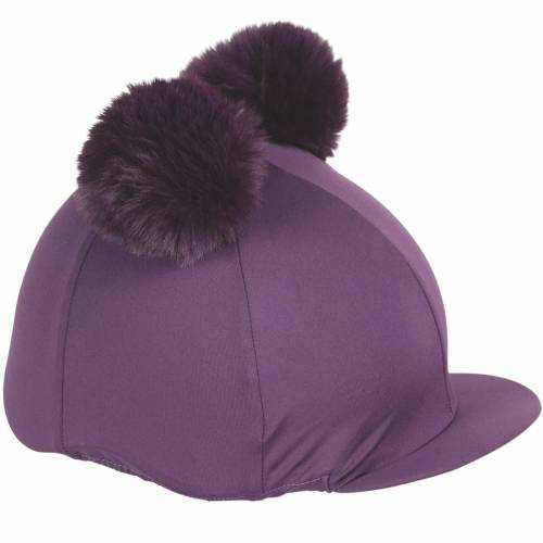Shires Double Pom Pom Hat Cover - Plum