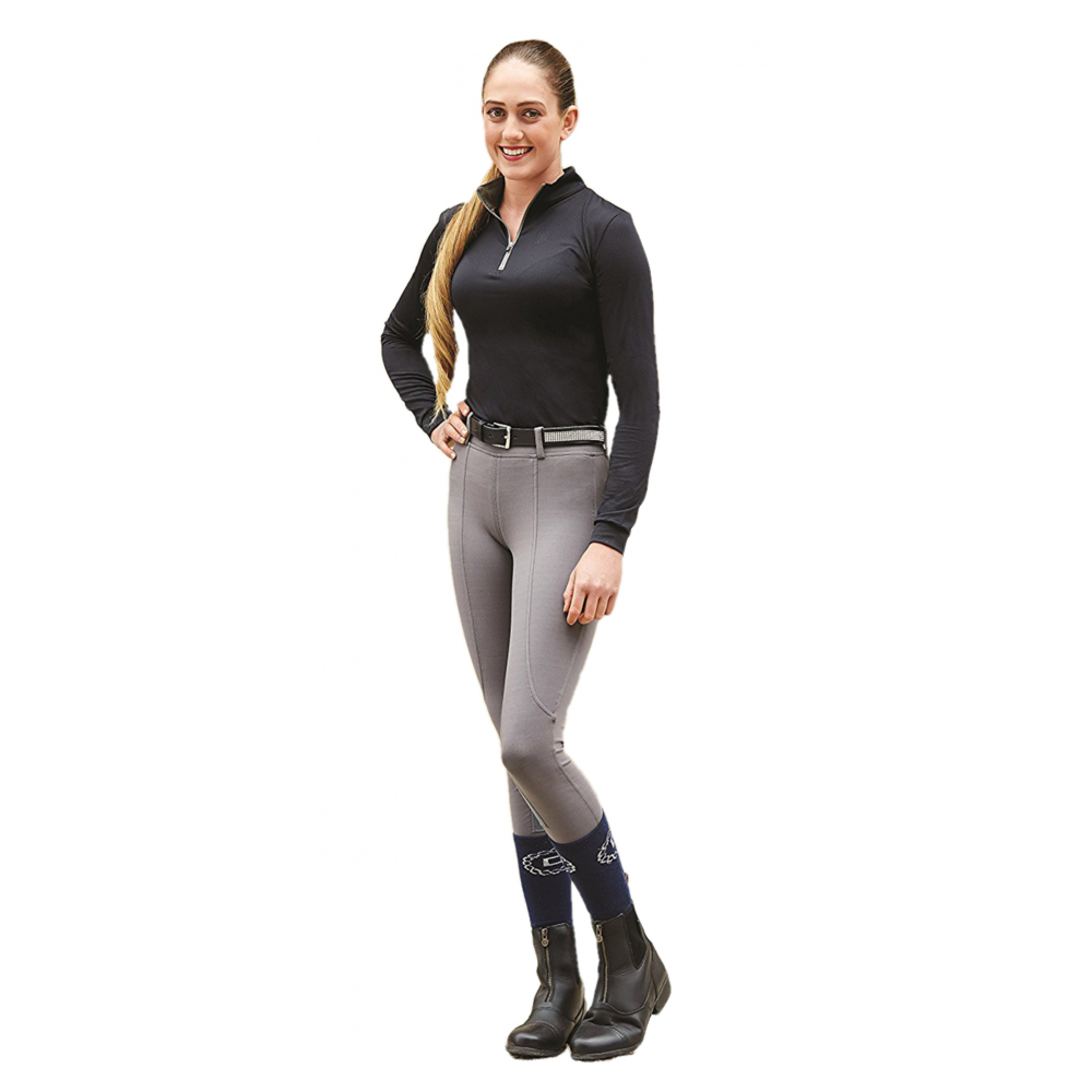 Dublin Flex Knee Patch Adults Riding Tights - Charcoal