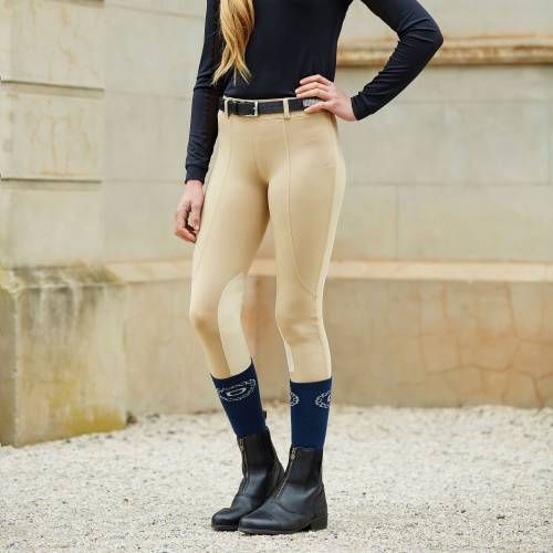 Dublin Performance Flex Knee Patch Adults Riding Tights  - Beige
