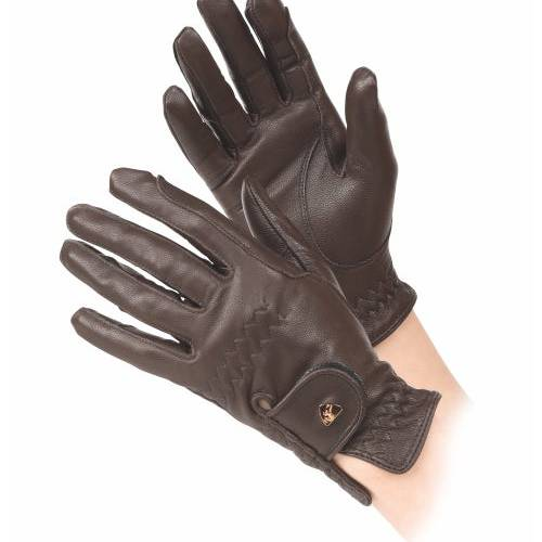 Shires Aubrion Leather Riding Gloves - Brown