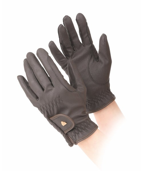 Shires Aubrion PU Riding Gloves - Brown