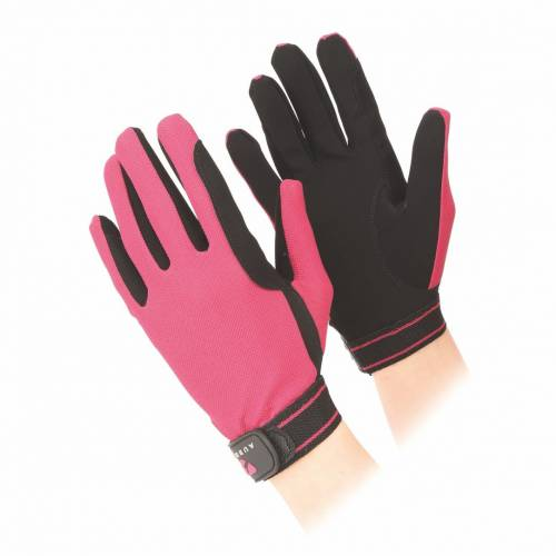 Shires Aubrion Childs Mesh Riding Gloves - Raspberry