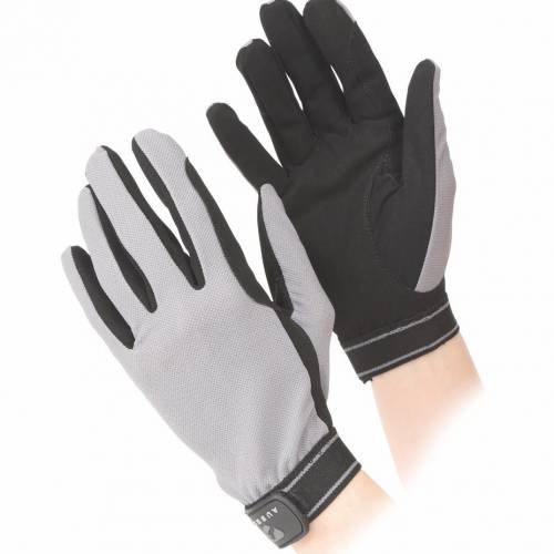 Shires Aubrion Childs Mesh Riding Gloves - Grey