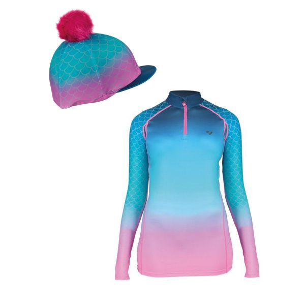 Shires Aubrion Hyde Park Base Layer & Hat Silk - Mermaid - ADULT