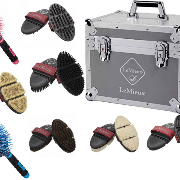 LeMieux Grooming Box & Complete Brush Set - Silver
