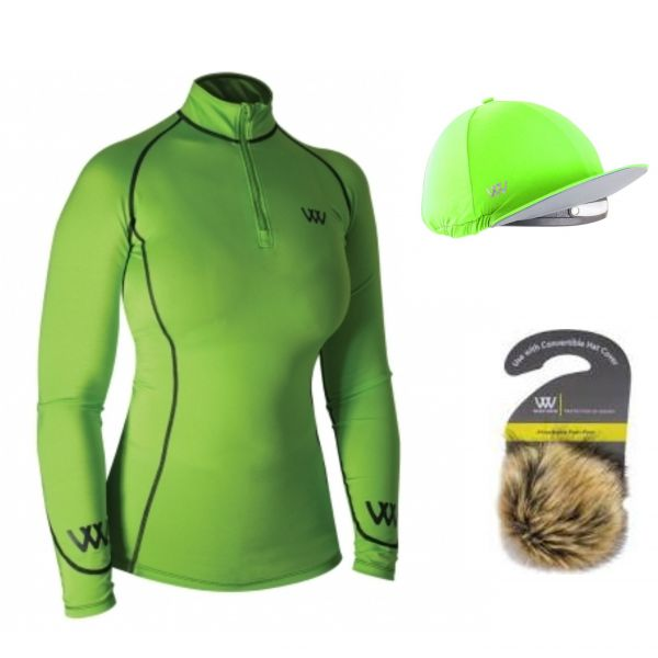 Woof Wear Base Layer & Hat Silk Set - Lime