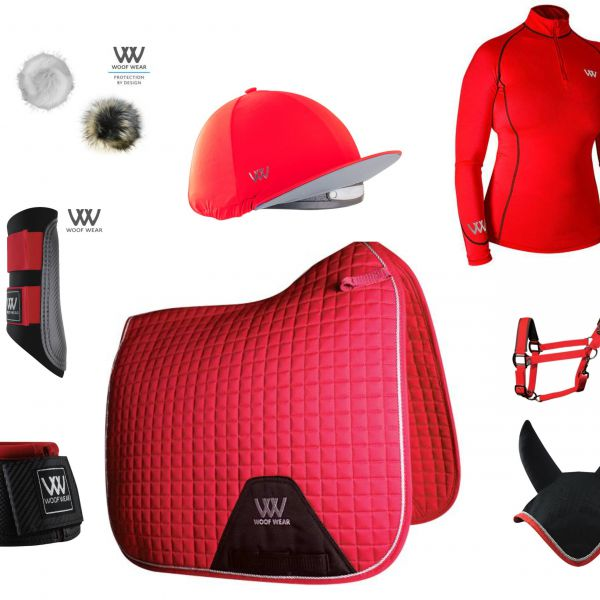 Woof Wear Full Monty Dressage Set - Royal Red
